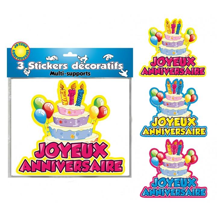 Lot de 3 stickers Joyeux anniversaire