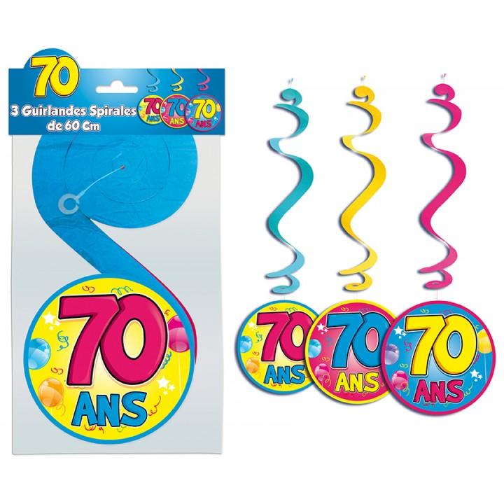 Lot de 3 Suspensions spirale 70 ans