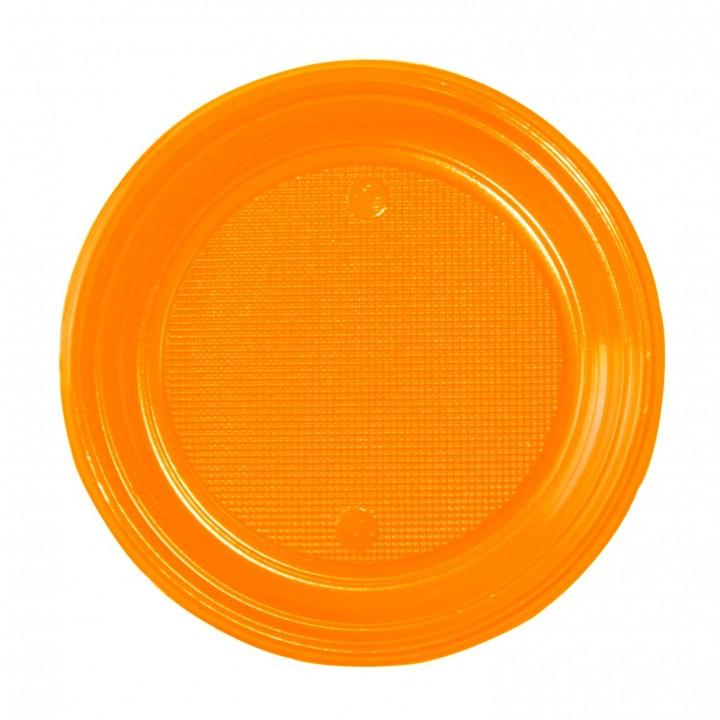 Lot de 30 assiettes ronde en plastique orange