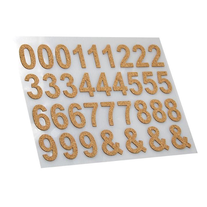 Lot de 34 stickers chiffres liège marron