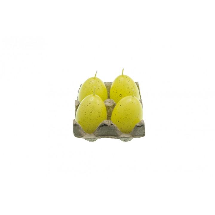 Lot de 4 bougies oeuf  jaune 7 cm