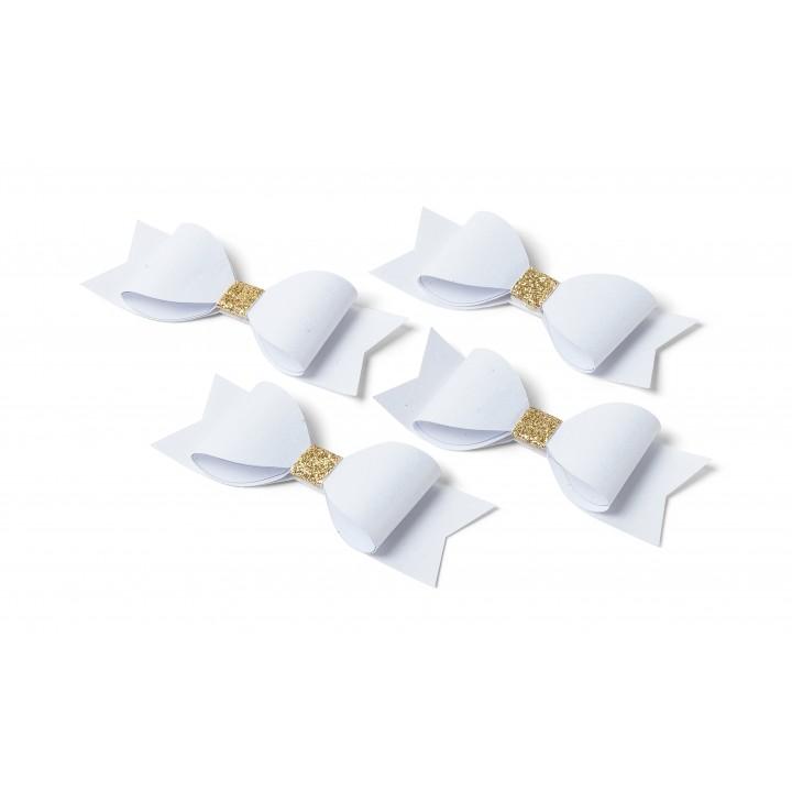 Lot de 4 Nœuds Papillon blancs et or pailleté