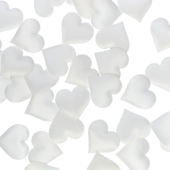 Lot de 40 Coeurs Satin blanc 3,5 cm