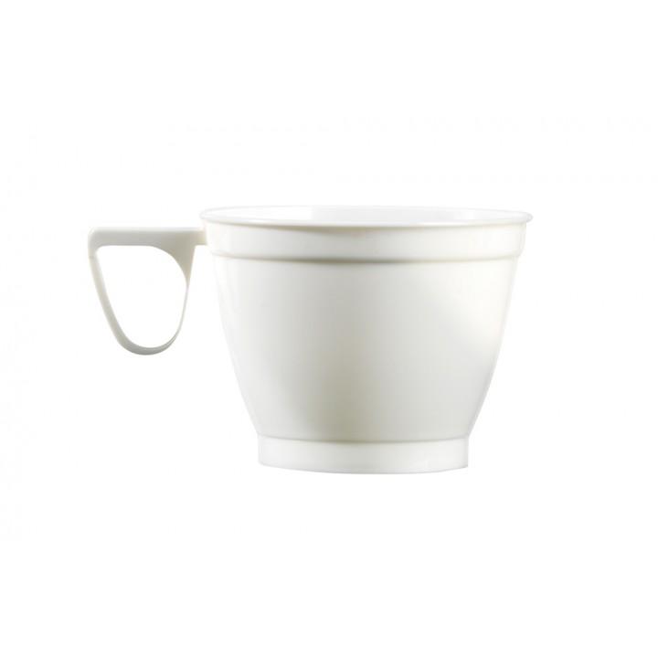 Lot de 45 tasses à café  jetables en plastique blancs 19 cl