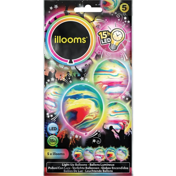 Lot de 5 ballons à led multicolores marbrés