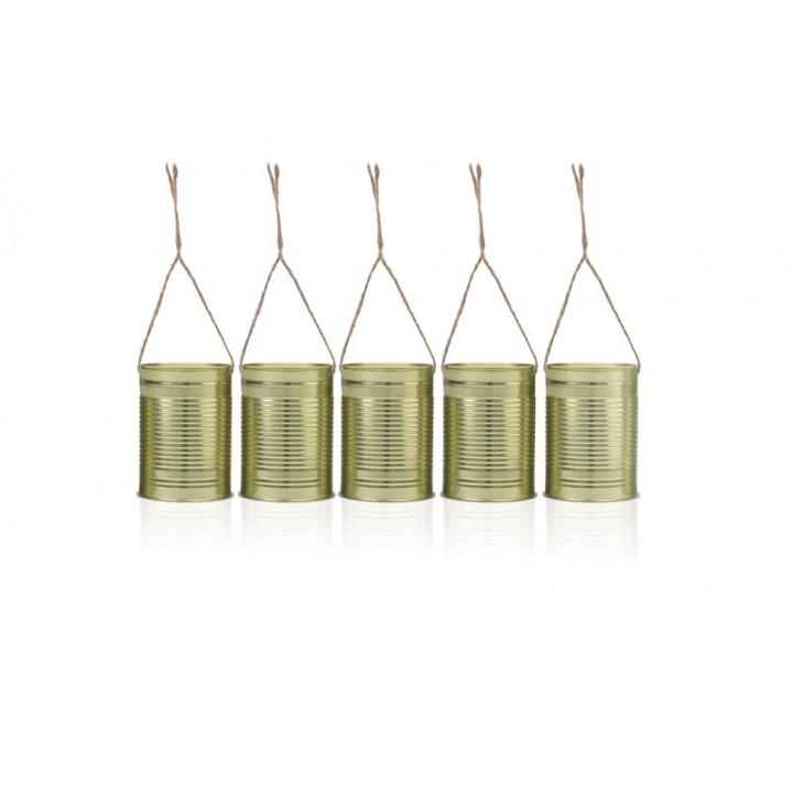 Lot de 5 Boîtes métal doré avec ficelle jute