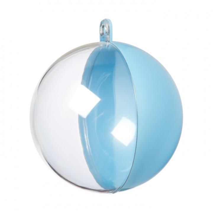 Lot de 5 Boules Bleues et transparentes 6 cm