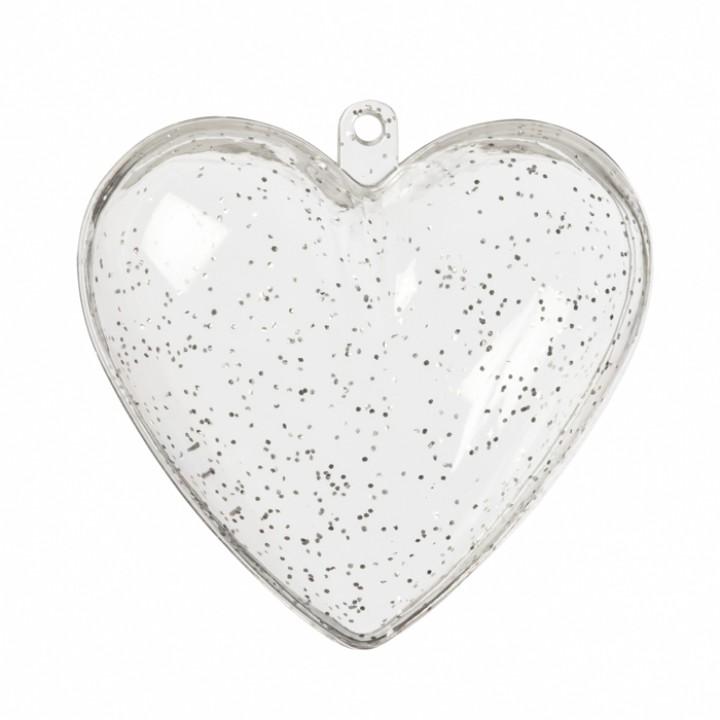 Lot de 5 cœurs pailletés et  transparents