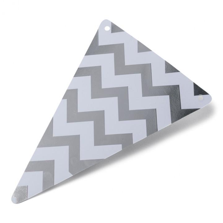 Lot de 5 Fanions triangles chevrons argent 15 x 21 cm
