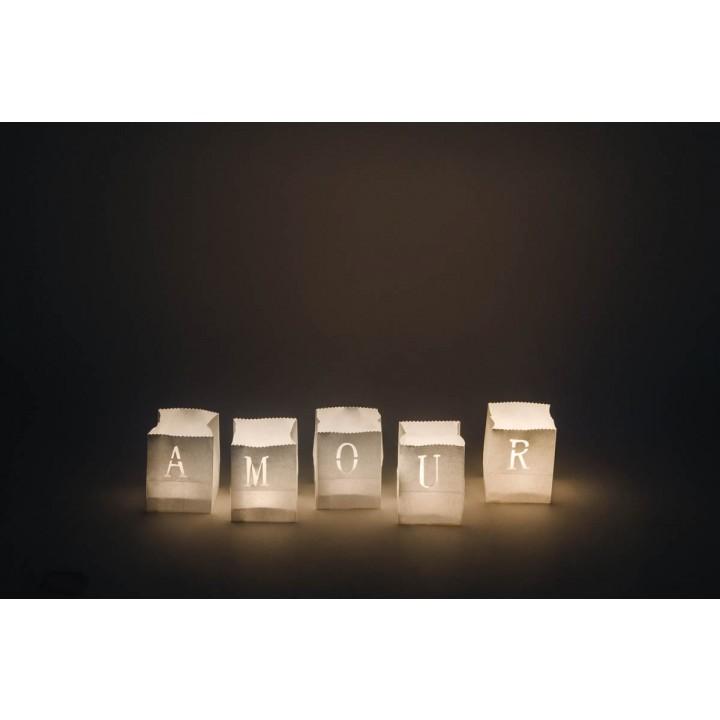 Lot de 5 photophores blancs Amour H 9 cm