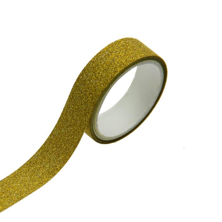 Lot de 5 Rouleaux de ruban adhésif doré pailleté 1,5 cm x 3 m