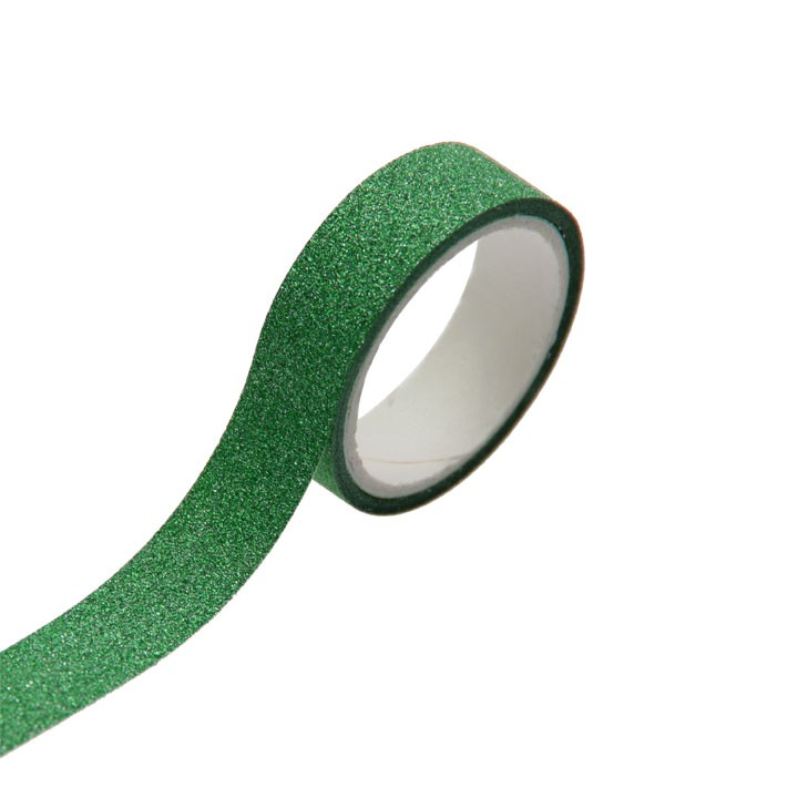 Lot de 5 Rouleaux de ruban adhésif vert pailleté 1,5 cm x 3 m