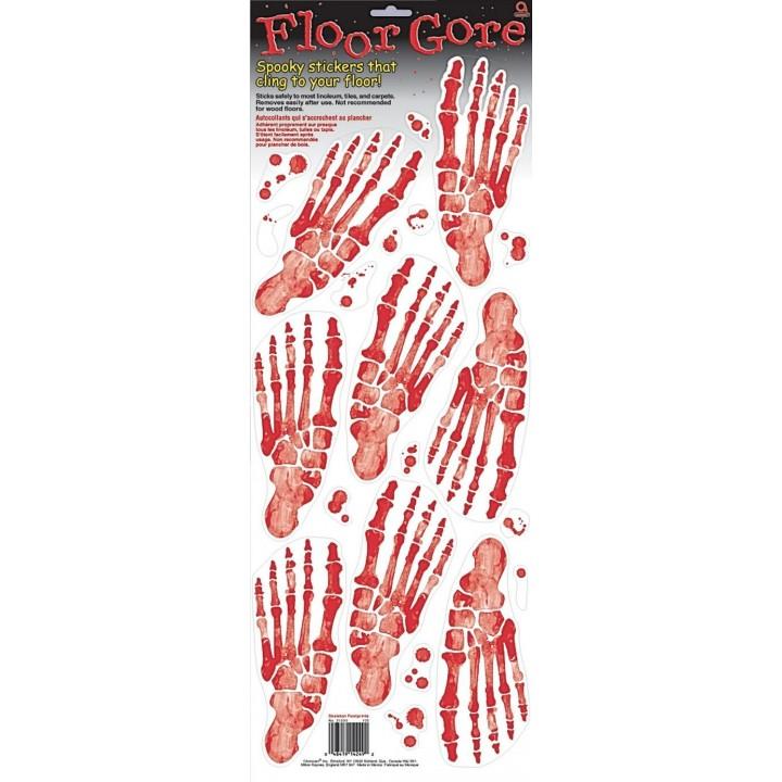 Lot de 5 stickers pas de squelette halloween