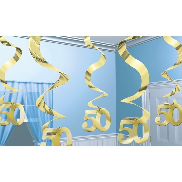 Lot de 5 Tourbillons Spirale 50 ans Or 61 cm