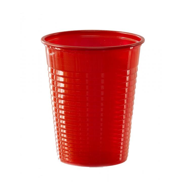 Lot de 50 gobelets jetables en plastique rouge 20 cl