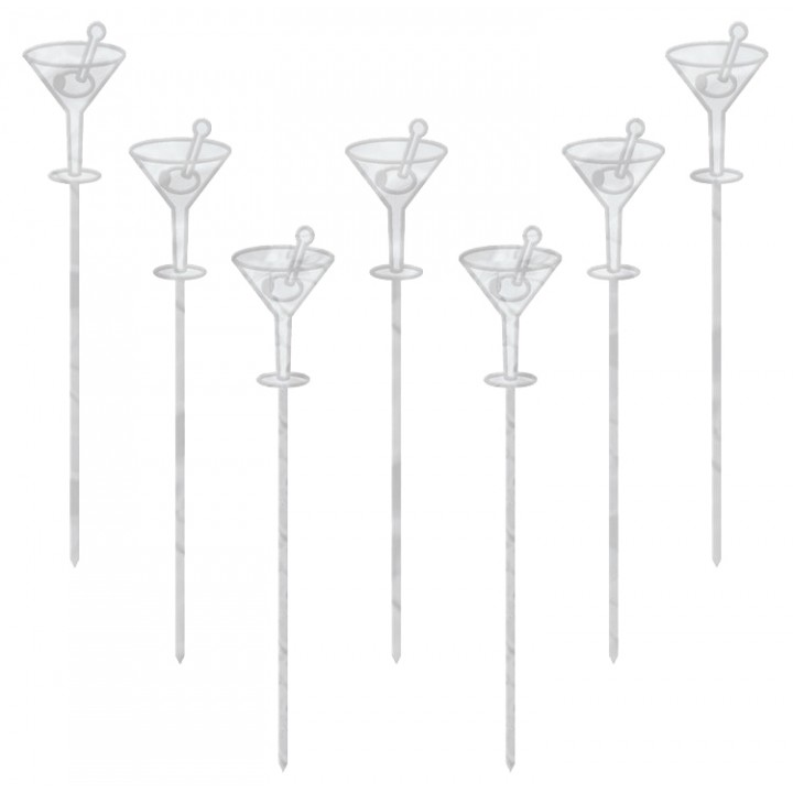 Lot de 50 piques verre cocktail transparent jetables H 10,1 cm