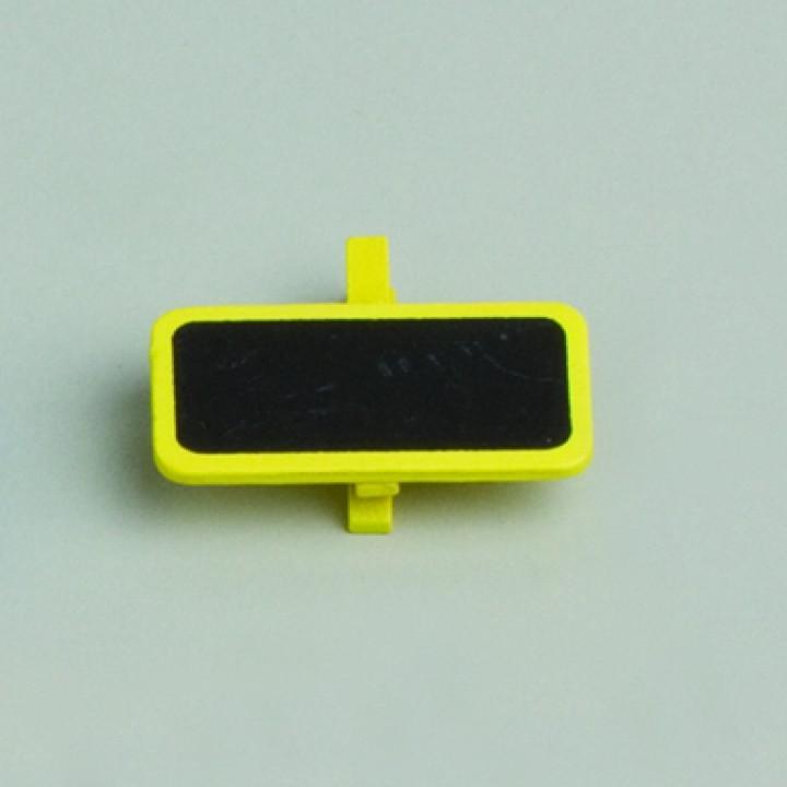 Lot de 6 ardoises rectangle jaune avec pince  4 x 2 cm