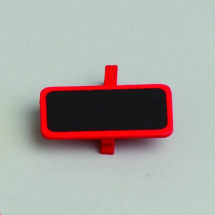 Lot de 6 ardoises rectangle rouge avec pince  4 x 2 cm