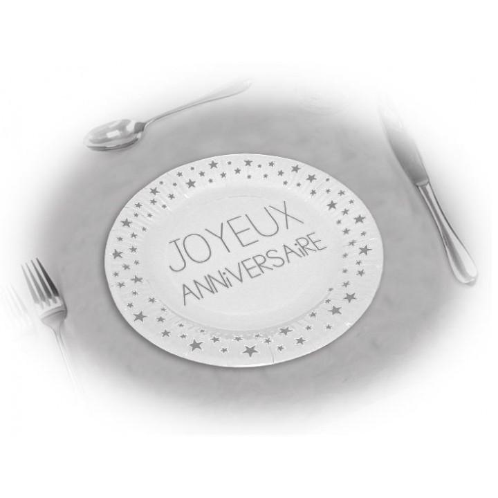 Lot de 6 assiettes anniversaire Blanc Albâtre D 23 cm