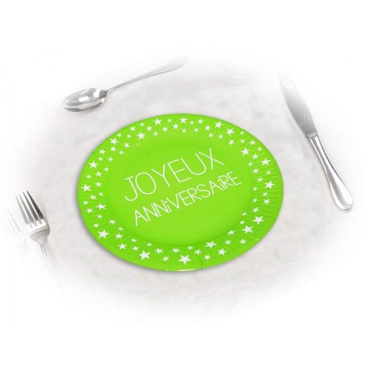 Lot de 6 assiettes anniversaire Vert excellence D 23 cm
