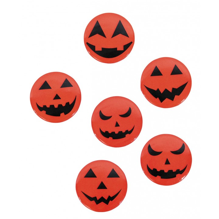 Lot de 6 Badges Citrouille Halloween 3,7 cm