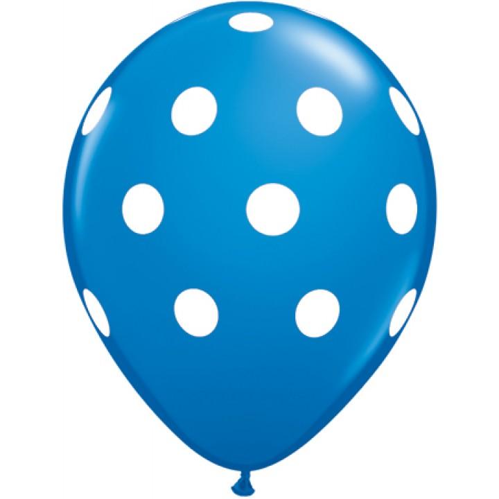 Lot de 6 ballons Polka Dots en latex bleu  27,5 cm