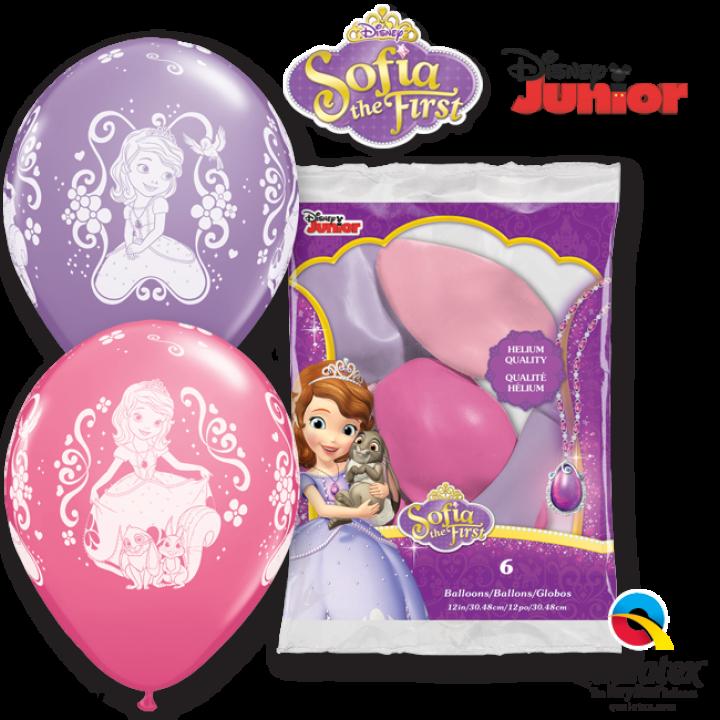 Lot de 6 ballons Princesse Sofia en latex rose et parme 30 cm