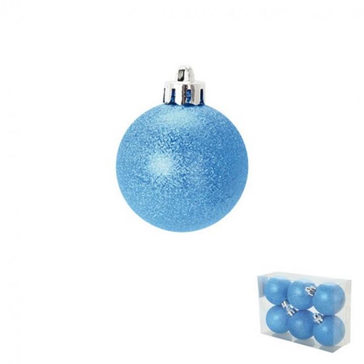 Lot de 6 boules Chic bleu D 6 cm