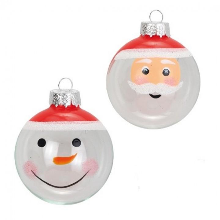 Lot de 6 boules en verre décorées Père Noël D 6 cm