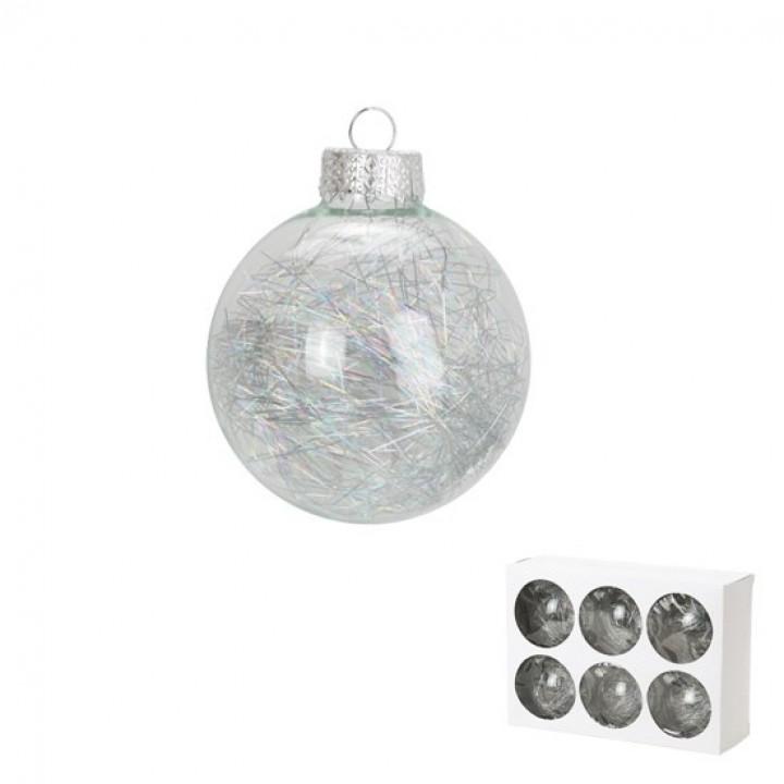 Lot de 6 boules verre avec cheveux d'ange argent D 6 cm