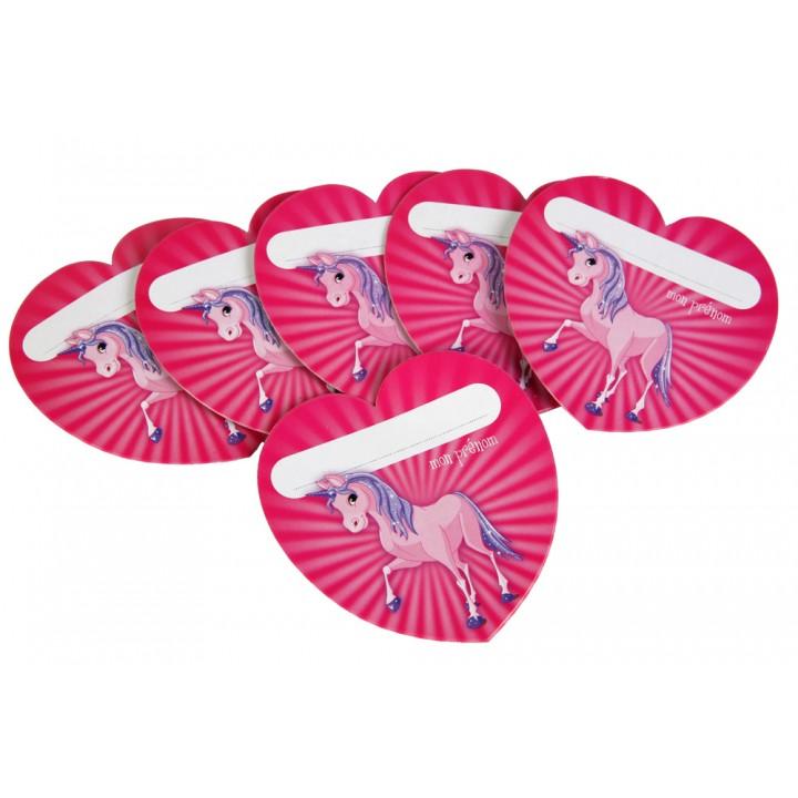 Lot de 6 cartes badges Licorne