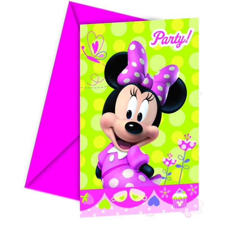 Lot de 6 cartes d'invitation Minnie Bow-tique