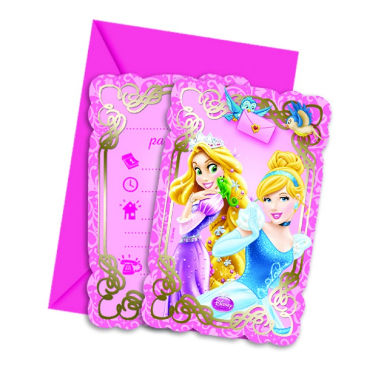 Lot de 6 cartes d'invitation Princesses et animaux