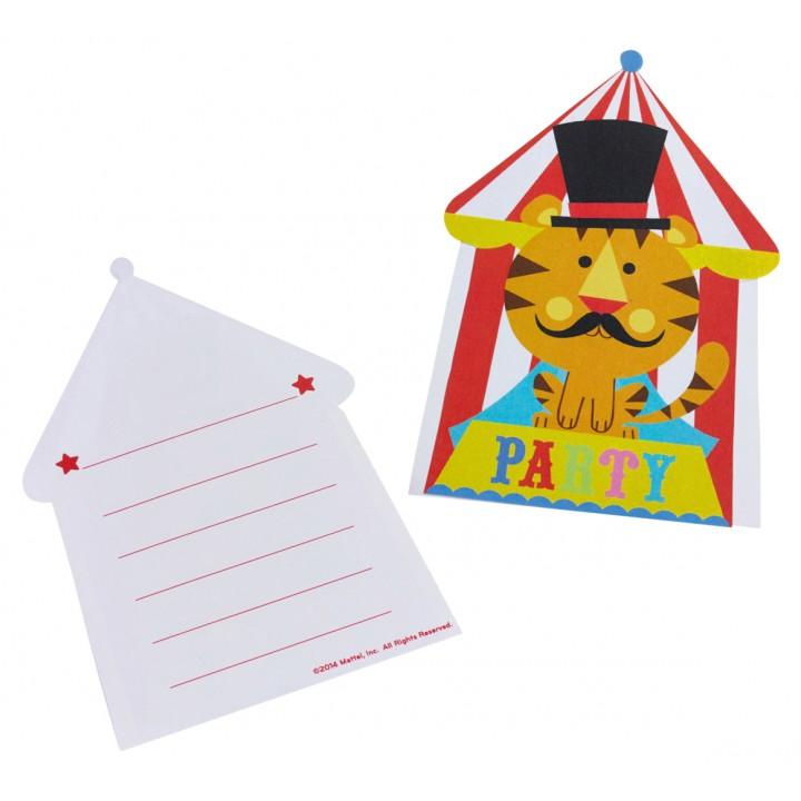 Lot de 6 cartes invitation Fischer Price Circus avec enveloppes