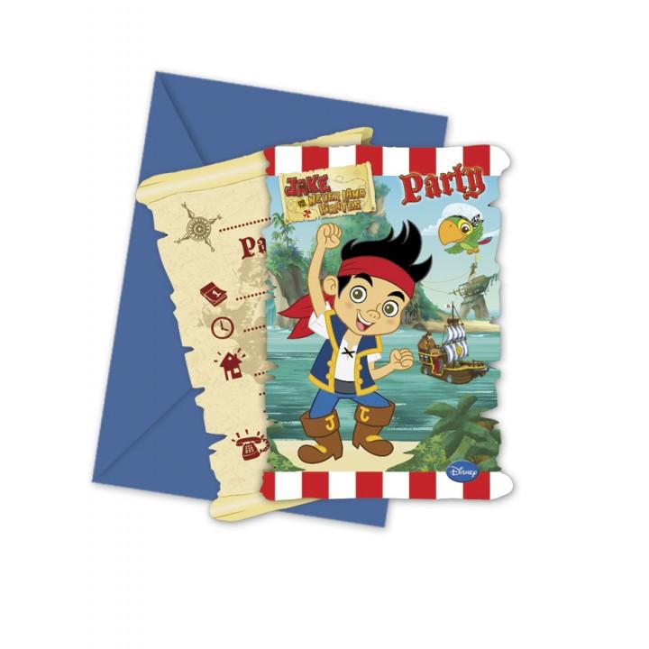 Lot de 6 cartes invitation Jake le pirate avec enveloppe