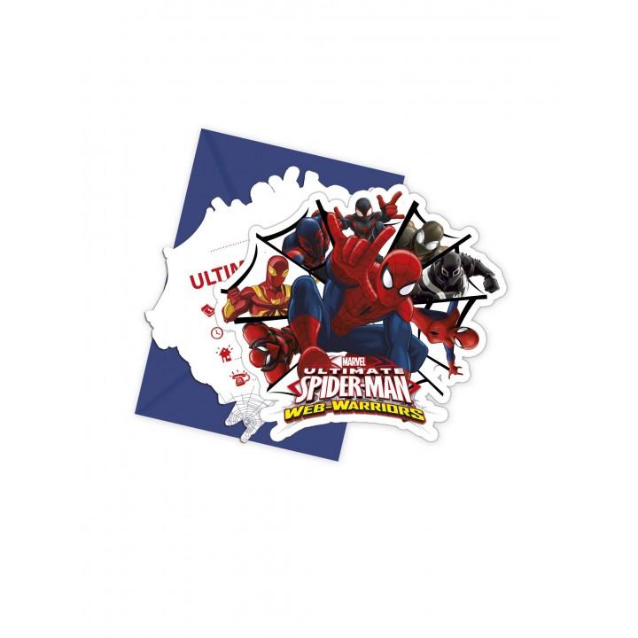 Lot de 6 cartes invitation Spiderman publishing avec enveloppe