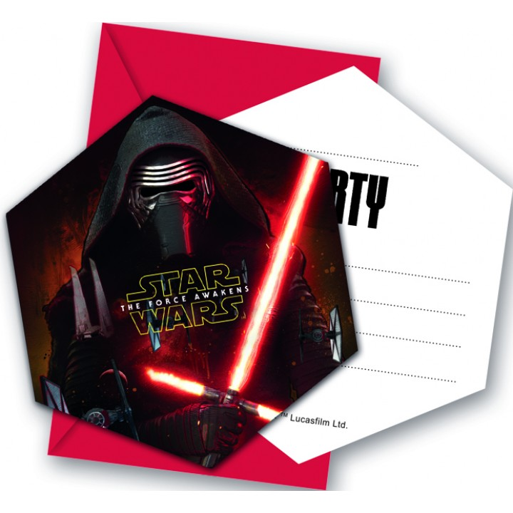 Lot de 6 cartes invitation Star Wars VII avec enveloppe