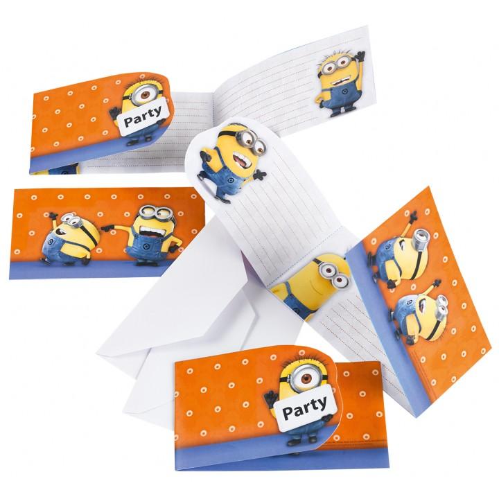 Lot de 6 cartes invitations Minions avec enveloppes