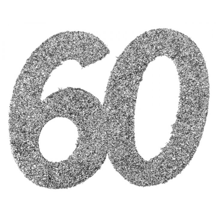 Lot de 6 confettis 60 ans argent 6 x 5 cm