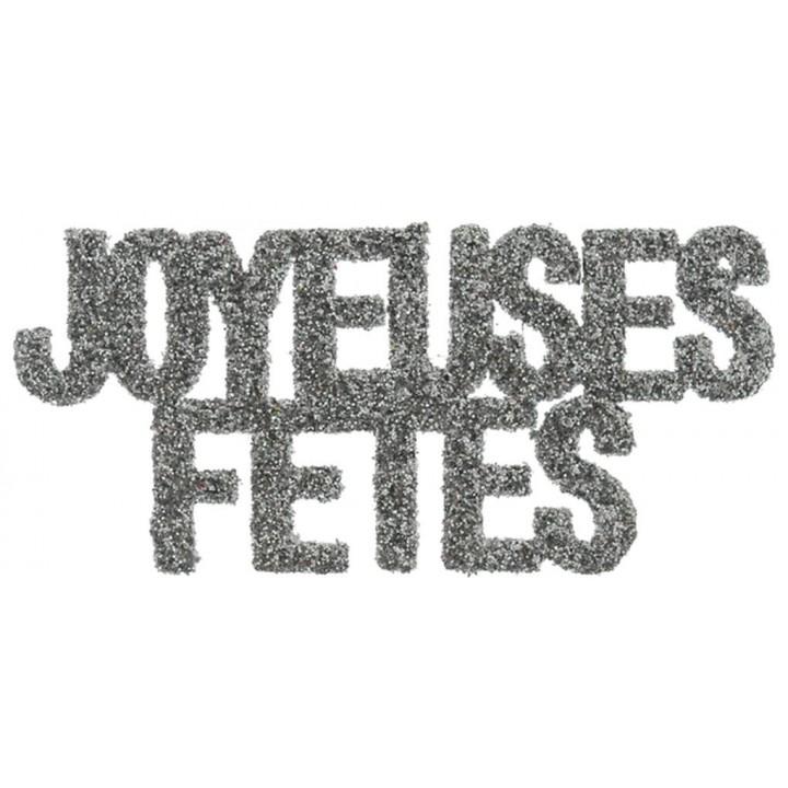 Lot de 6 Confettis de table Joyeuses fêtes argent pailleté