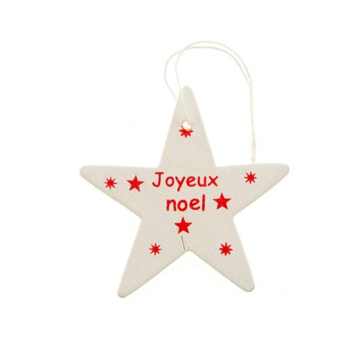 Lot de 6 étoiles Joyeux Noël à suspendre blanc/rouge en bois 5,5 cm