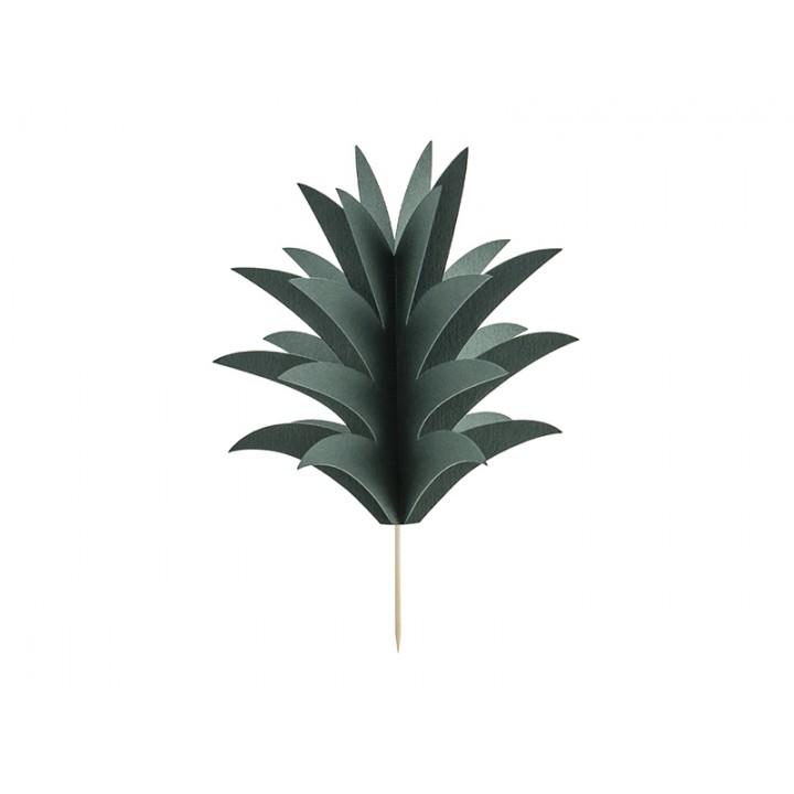 Lot de 6 feuilles d'ananas sur pic effet 3D 16,5 cm