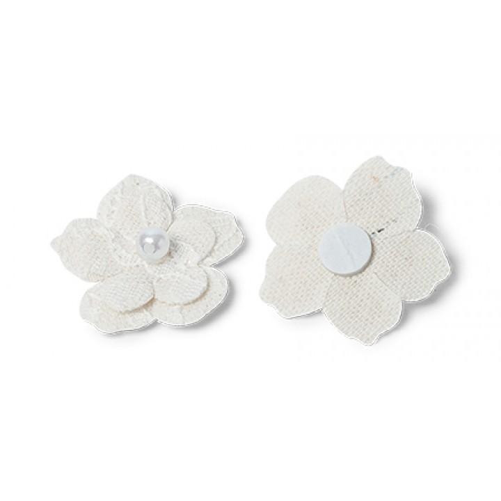 Lot de 6 fleurs adhésives en lin 3 cm