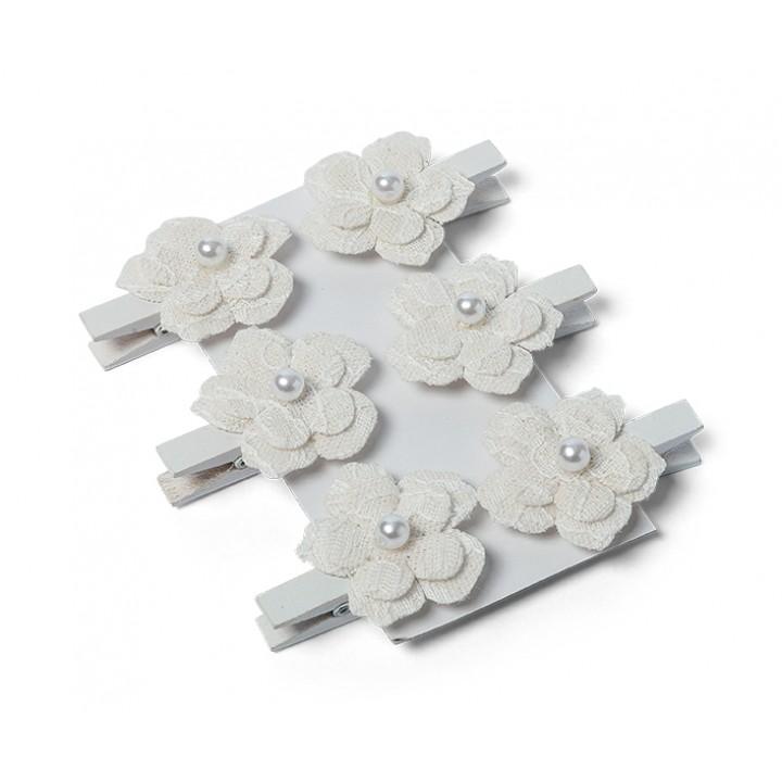 Lot de 6 Fleurs sur pince lin dentelle 3 cm
