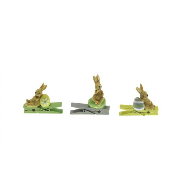 Lot de 6 lapins résine sur pince jaune, vert, gris 4,5 cm