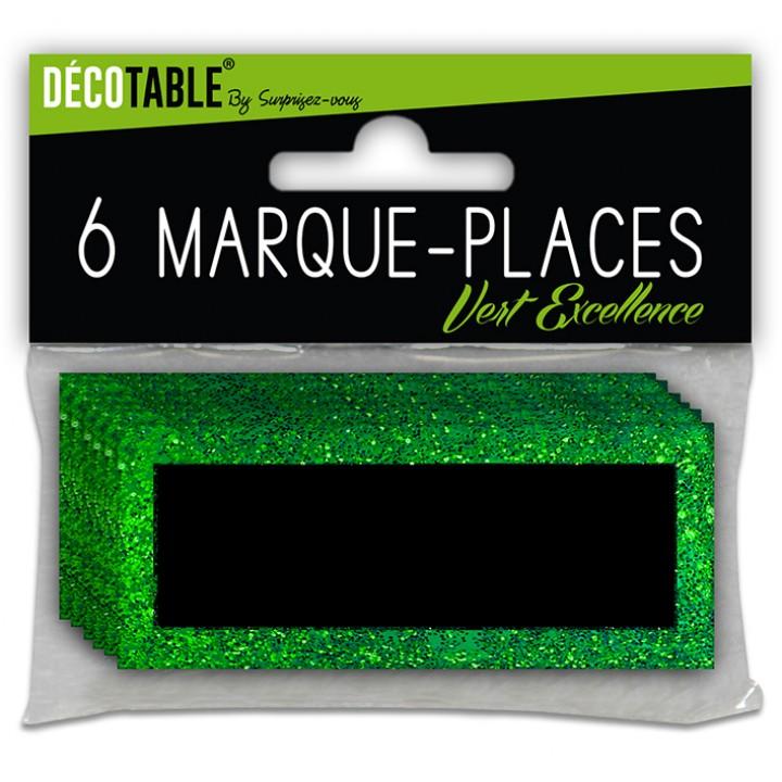 Lot de 6 marque-place pailletés vert excellence