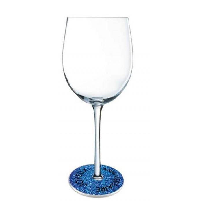 Lot de 6 Ornements de pied de verre Joyeux Anniversaire bleu océan