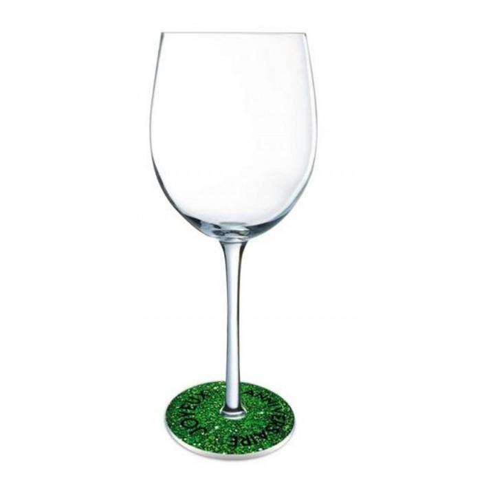 Lot de 6 Ornements de pied de verre Joyeux Anniversaire vert excellence