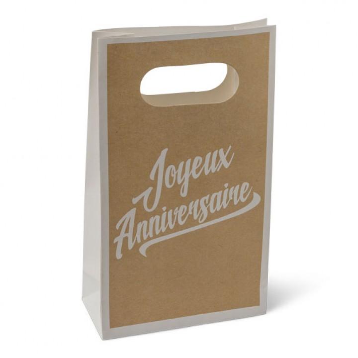 Lot de 6 pochettes cadeaux Joyeux anniversaire Kraft et blanc 10,5 x 18 cm