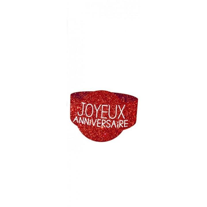 Lot de 6 ronds de serviette Joyeux Anniversaire rouge passion